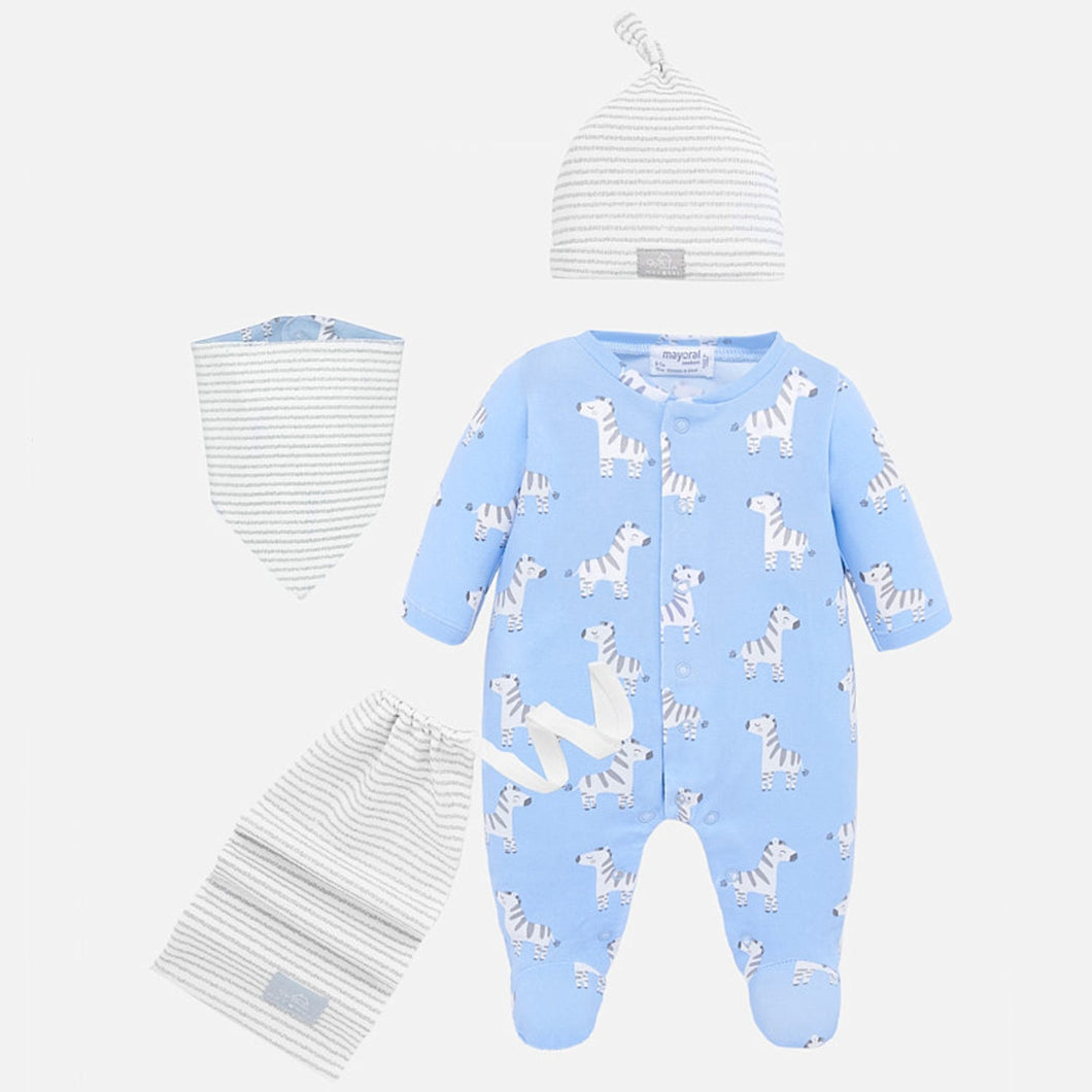 4PC SLEEPER HAT BIB & BAG BLUE GIRAFFE PRINT GREY STRIPE