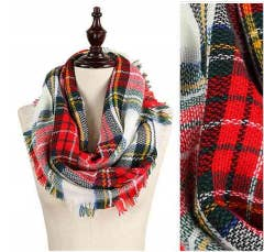 Multi w/White Plaid Infinity Scarf w/ Frayed Edge