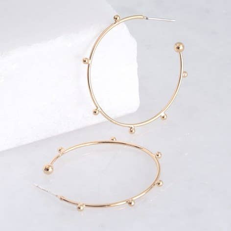 Orb Hoop Earrings In Gold
