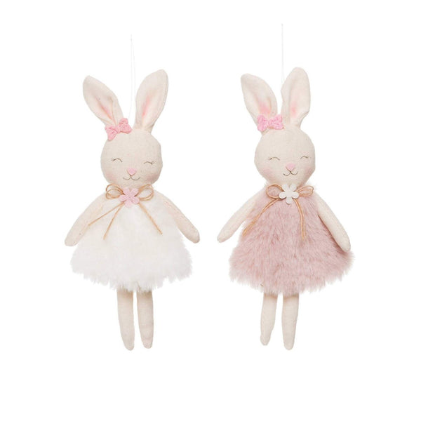 Furry Easter Bunnies Ornament, Set of 2
