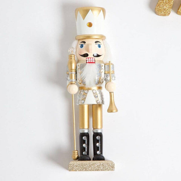 "White & Gold 10"" Nutcracker"