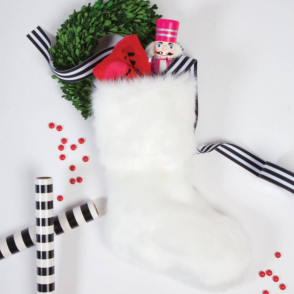 Snowy White Fur Stocking