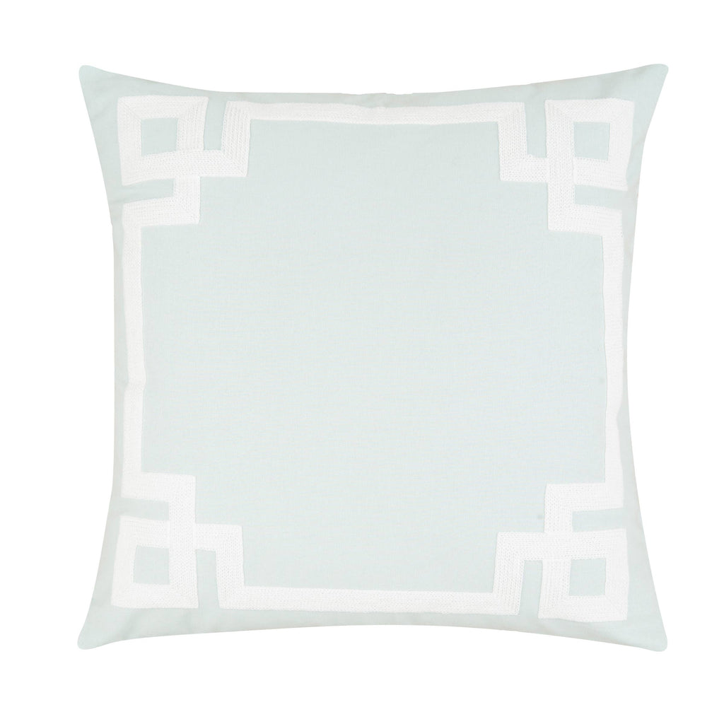 Greek Key Aqua Embroidered 20 x 20 Pillow