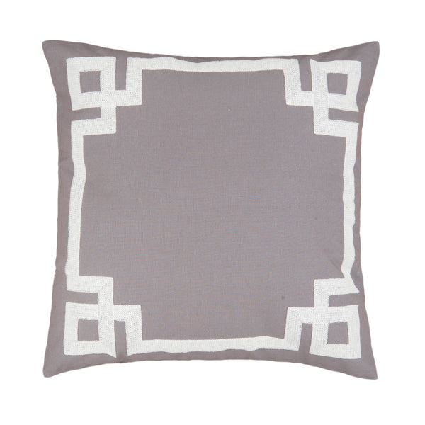 Greek Key Cement Embroidered 20 x 20 Pillow