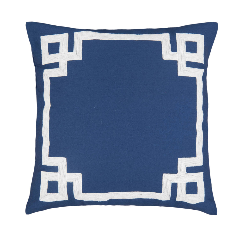 Greek Key Navy Embroidered 20 x 20 Pillow