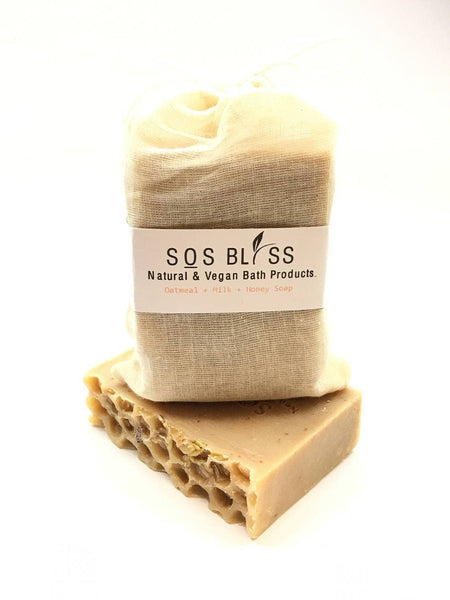 SOS BLISS Natural and Vegan Bath Products - Oatmeal Milk And Honey Soap