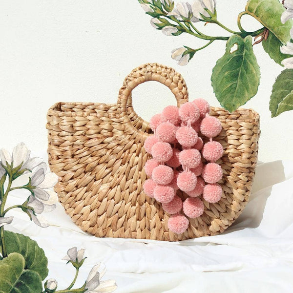Anaya Woven Straw Bag with Pink Blush Pom-poms