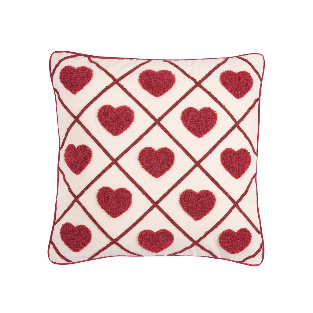 Vintage Hearts 18 x 18 Tufted Cotton Pillow