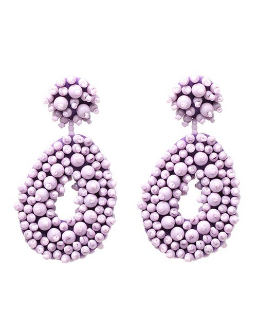 Purple Seed Bead Double Drop Earrings
