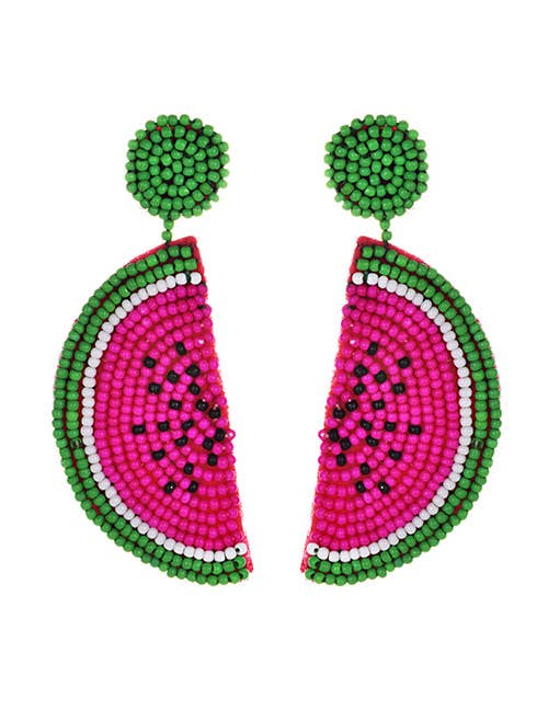 Watermelon Pink Seed Bead Drop Earrings
