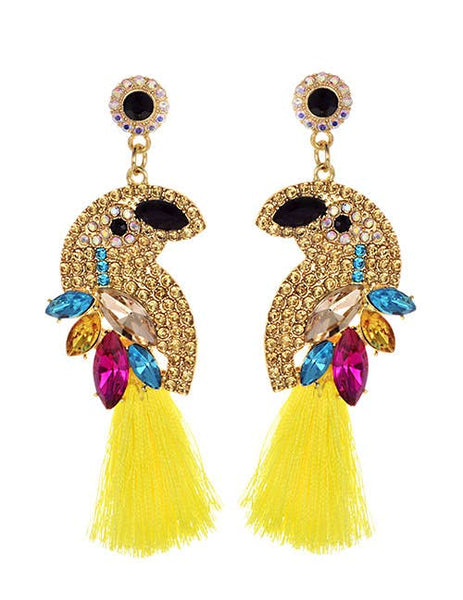 Yellow Swarovski Tassel Bird Earrings