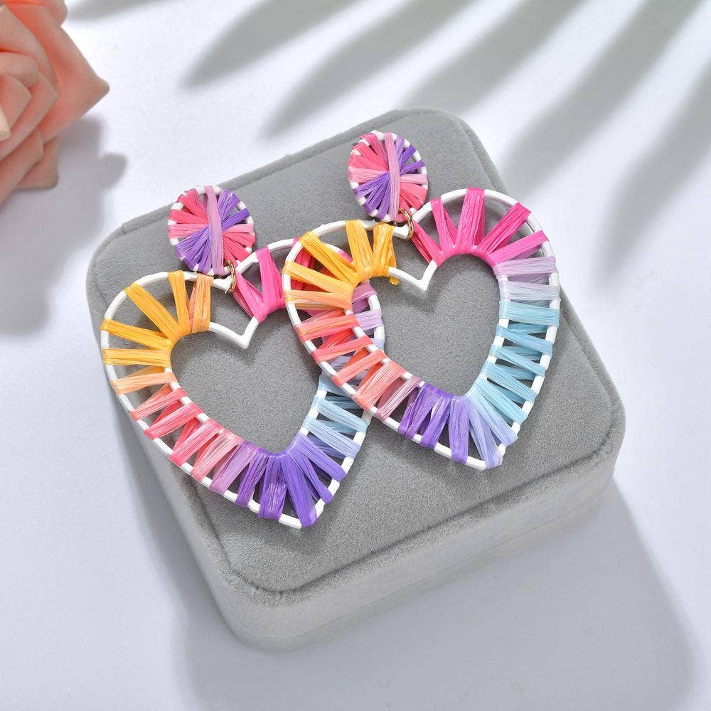 Koko and Lola - Raffia Rainbow Heart Drop Earrings