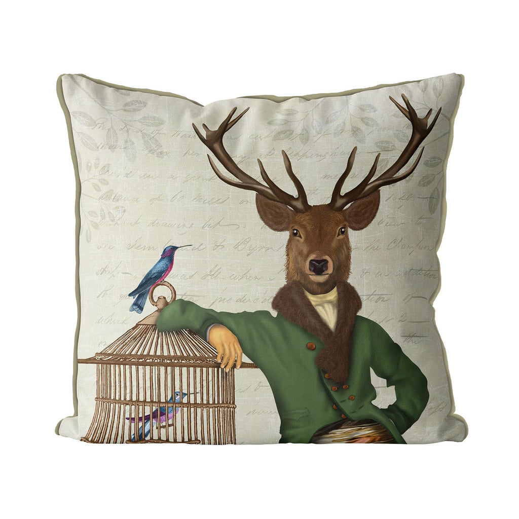 Deer and Bamboo Cage, Deer Pillow Cover