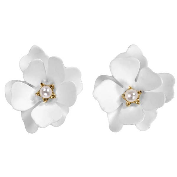 White Flower Double Bloom Earrings