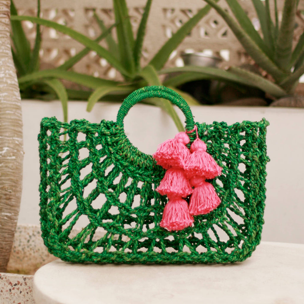 Green Dayu Straw Bag with Hot Pink Tassels