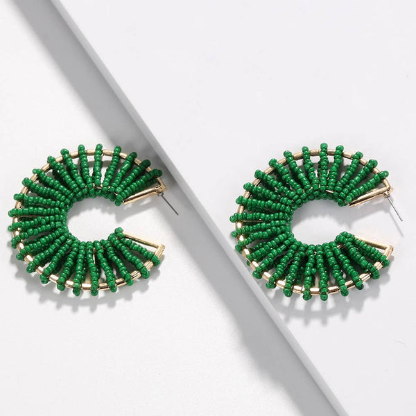 Green Seed Bead Earrings