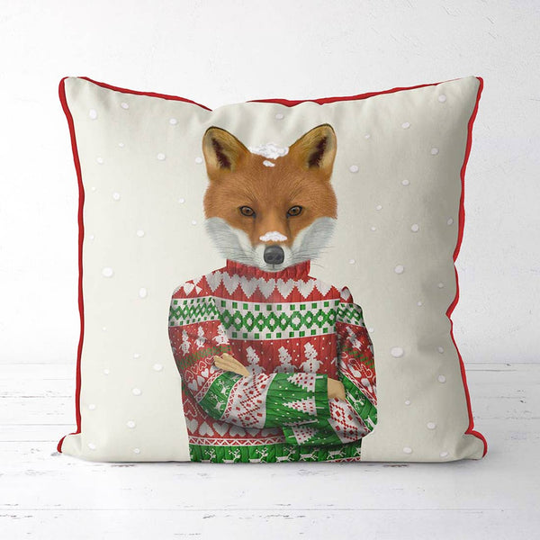 Fox in Christmas Sweater, Christmas Holiday Pillow Cover
