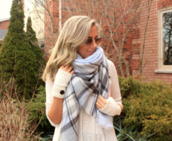 Blanket scarf grey blue daze