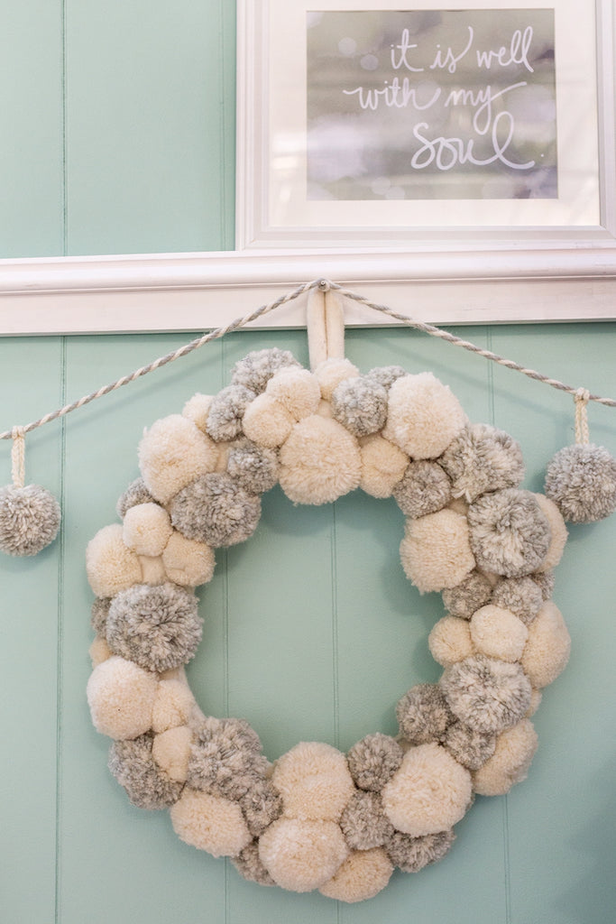 Fluffy Pom Pom Wreath