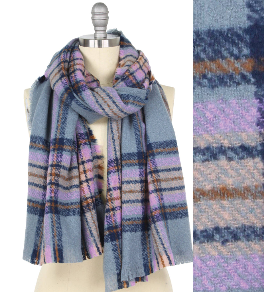 Buttersoft Light Blue & lavender Plaid Scarf