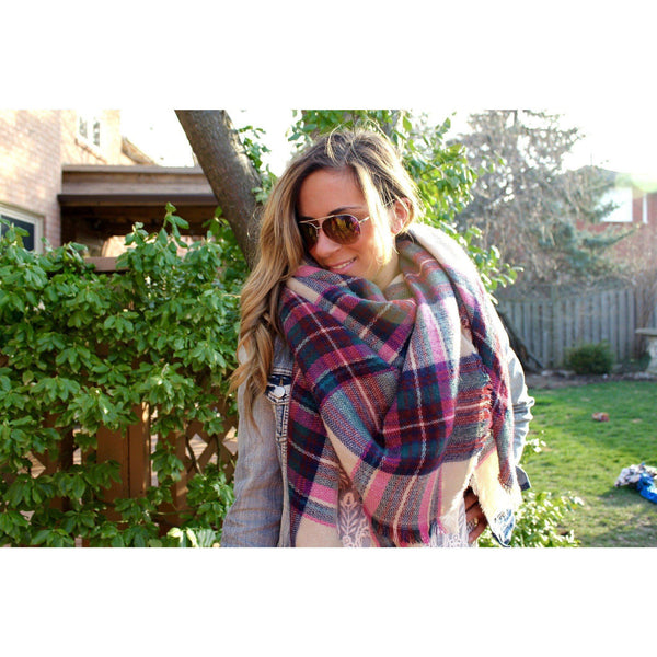 Raspberry Jam Plaid Blanket Scarf