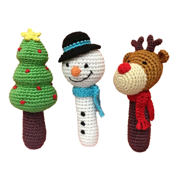 Holiday Stick Crocheted Rattles - Set of 3