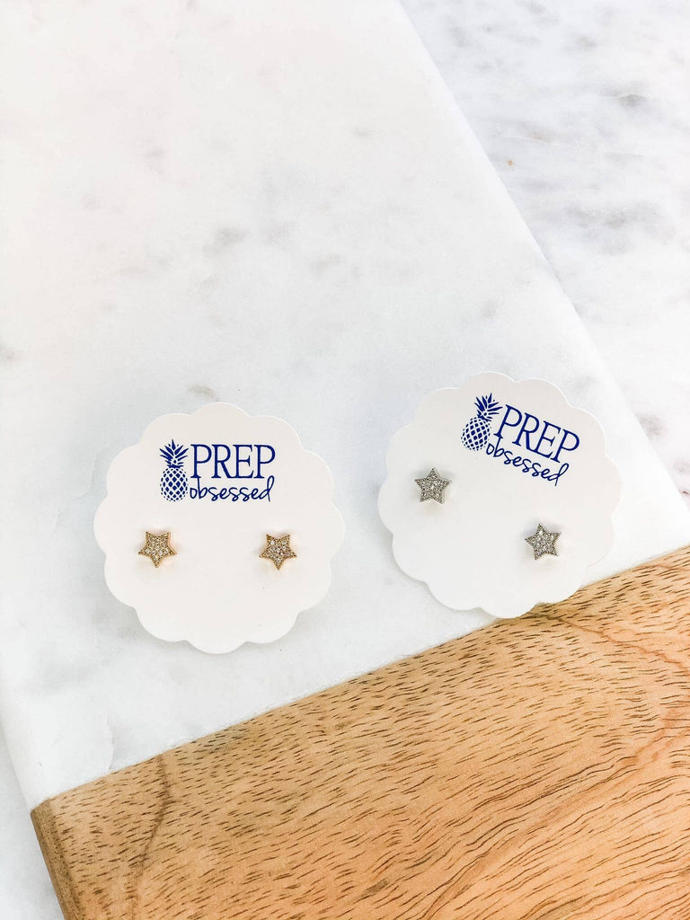 Prep Obsessed Wholesale - Dainty Pave Star Stud Earrings