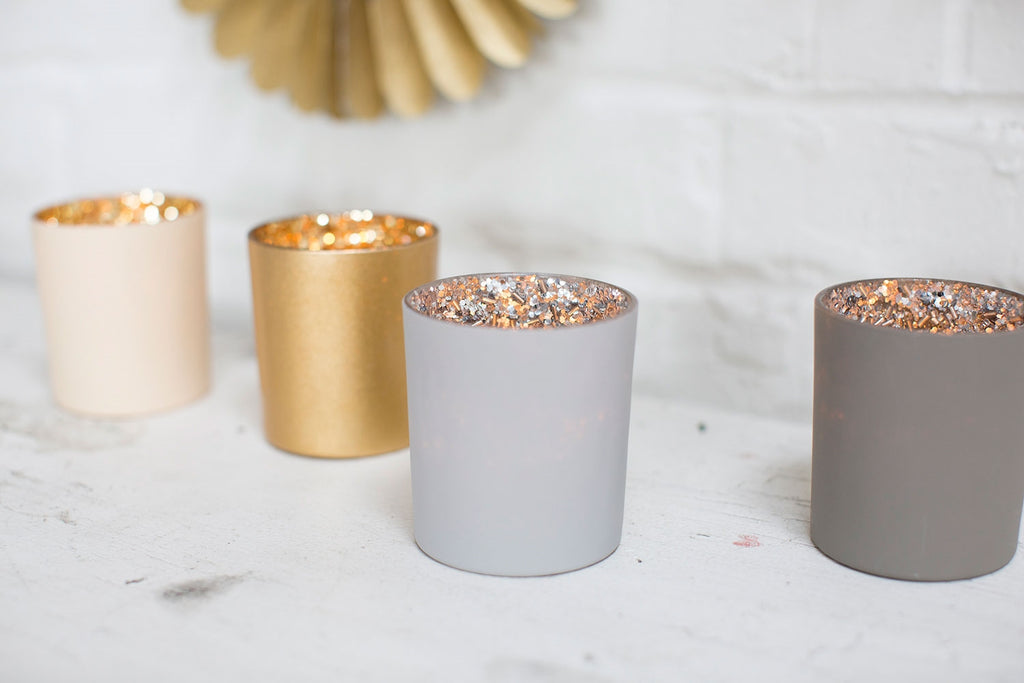 Silver Glitter Votives (set of 4)