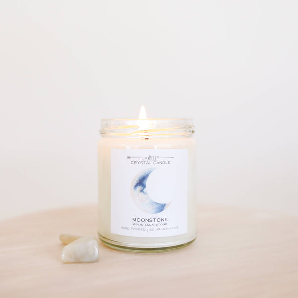 JaxKelly - Moonstone Crystal Candle - Brings Good Luck