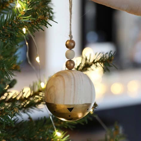 Metallic Dipped Wooden Bauble In Gold