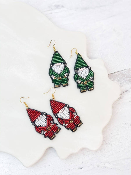 Ruby Red Gnome Seed Bead Dangle Earrings