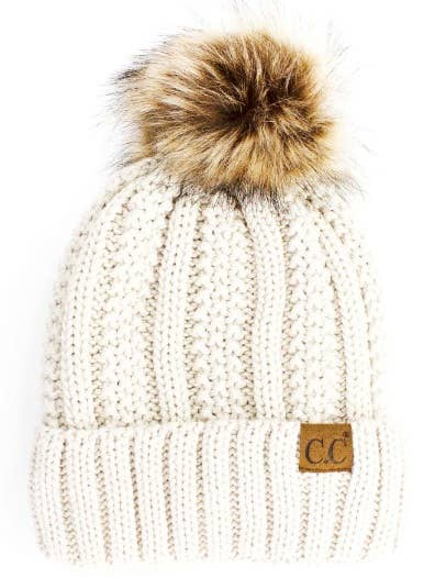 Ivory Vertical Knit w/ Fur Pom