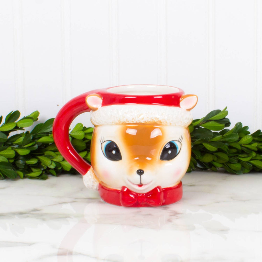 Retro Reindeer Mug Set of 4