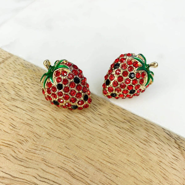Glitzy Strawberry Stud Earrings