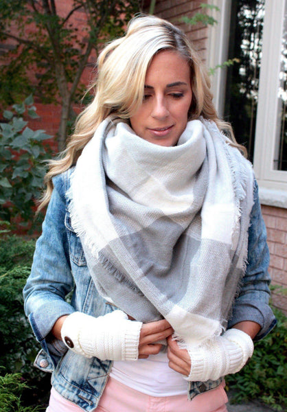 Blanket scarf faded dove