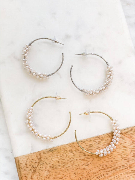 Pearl Cluster Hoop Earrings in GOLD