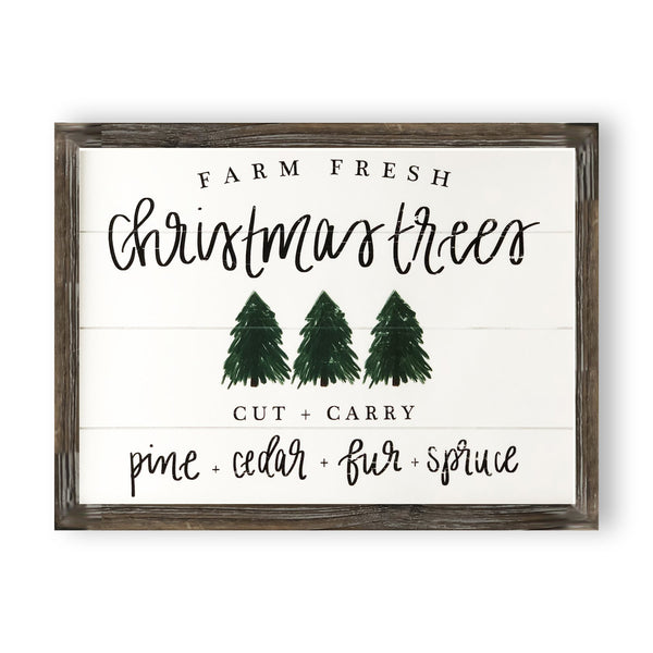Christmas Trees Shiplap Wood Sign 18x23
