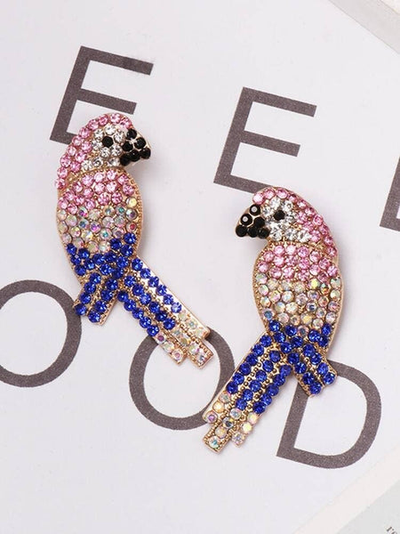 Swarovski Encrusted Blue & Pink Parrot Earrings