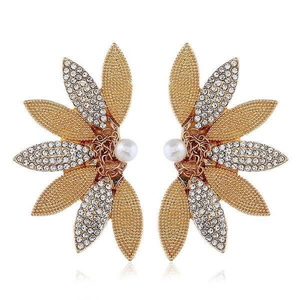Gold & Swarovski Crystal Leaf Earrings