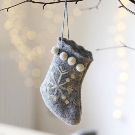 Mini Grey Felt Stocking Hanging Decoration