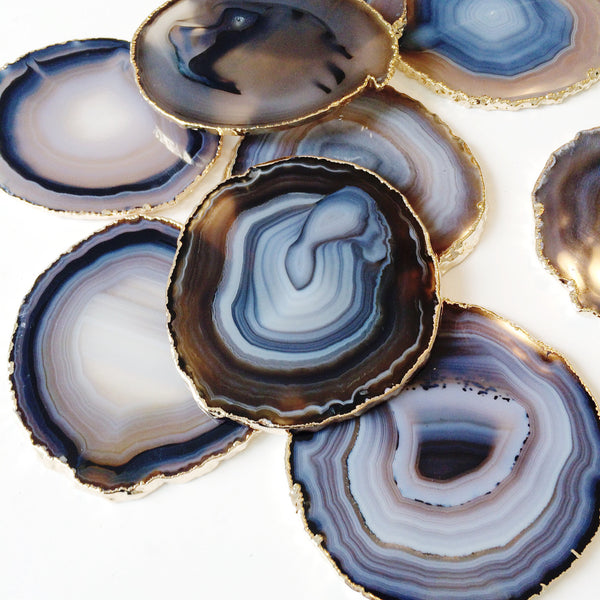 Agate Coasters with Gold Leaf Trim - Black, Blue, & Beige Natural