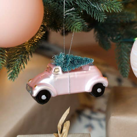 Pink Car With Bristly Christmas Tree Ornament