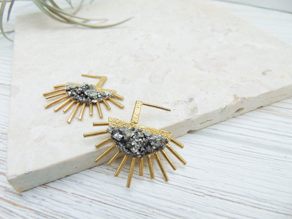 Sparkly Gold Pyrite Earrings