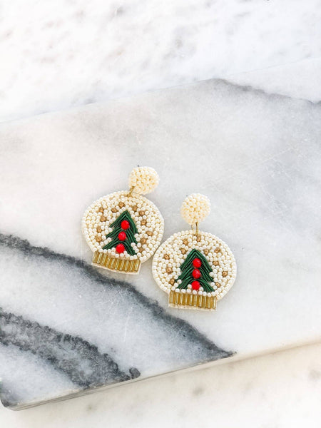 Winter Wonderland Christmas Snow globe Statement Earrings