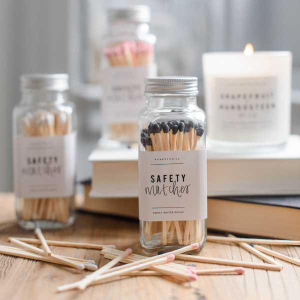Pink Safety Matches - Glass Jar