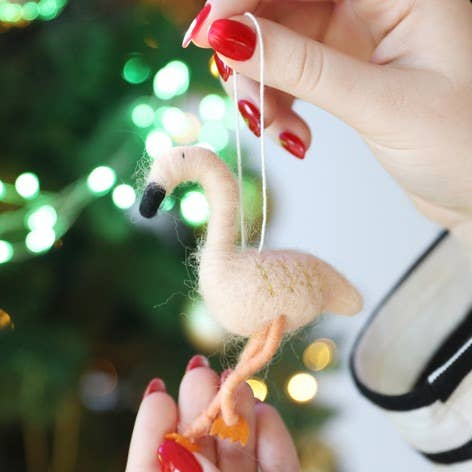 Felt Flamingo Ornament