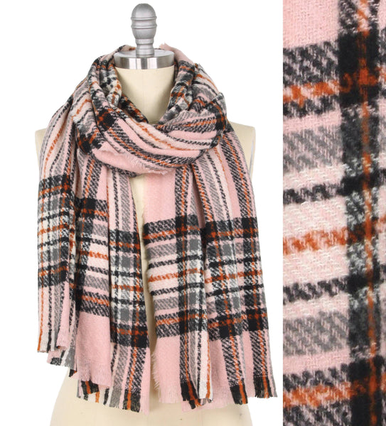 Buttersoft Pink Plaid Scarf