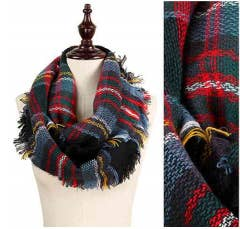 Multi w/Black Plaid Infinity Scarf w/Fringe