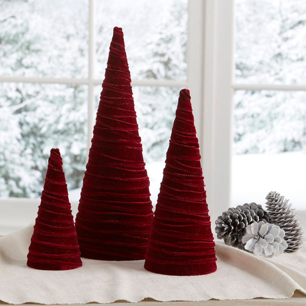 Velvet trees (set of 3) in Burgundy