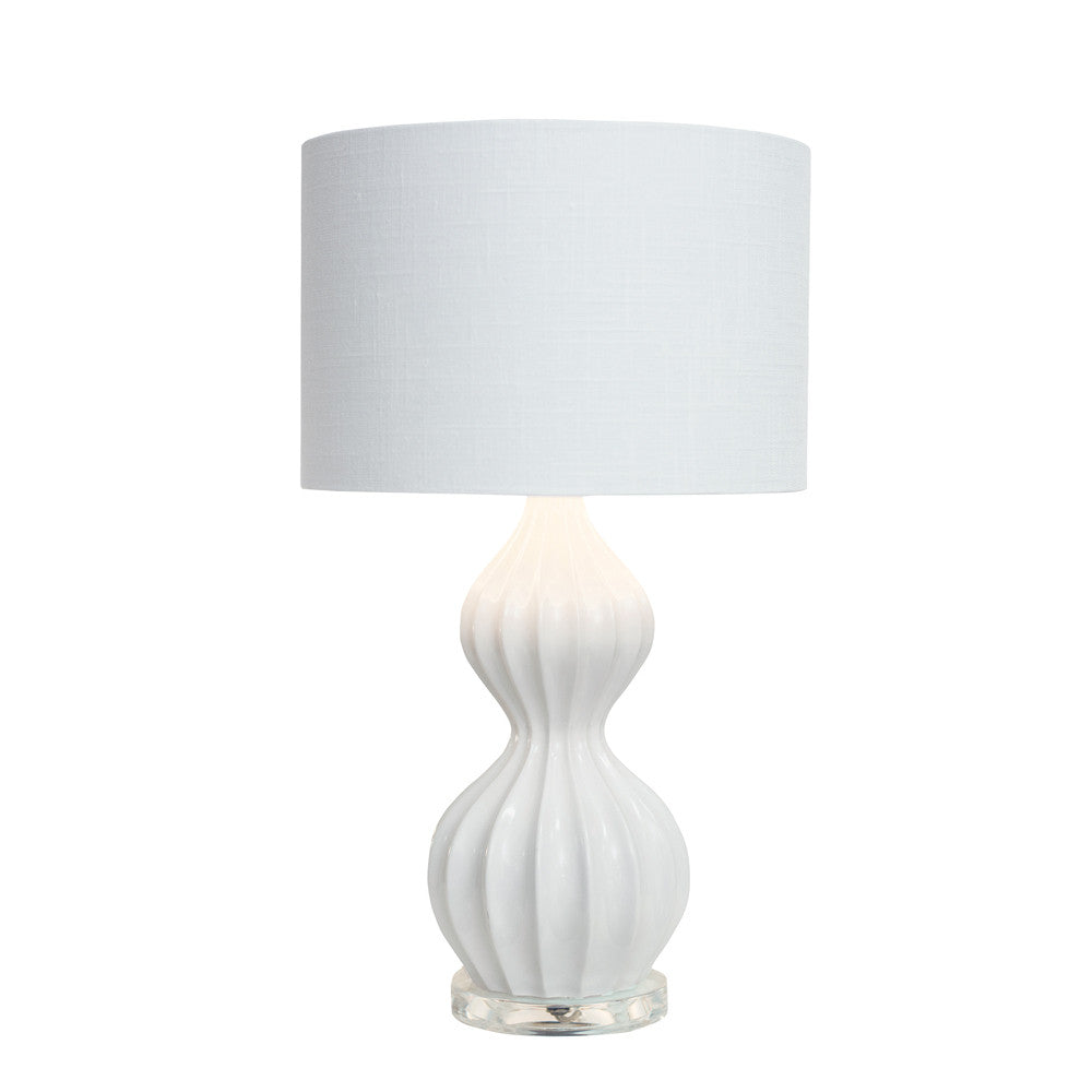 White Ribbed Peanut Accent Lamp